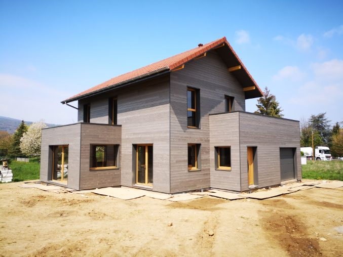 Photo de la construction en cours d'une maison ossature bois - 2019 - David Ratanat Architecte DPLG