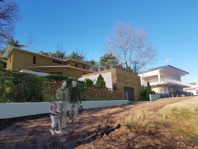 Construction d'une maison contemporaine à Lachassagne / Projet M. et Mme U. / Mai 2020 / Construction en cours / Conception : David Ratanat Architecte DPLG