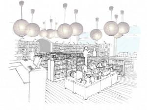 Esquisse librairie. Conception : David Ratanat