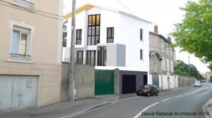Construction d'une maison individuelle à Pierre Bénite. Architecte David Ratanat.